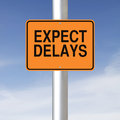 Expect delays a road sign warning of ahead Stock Photo