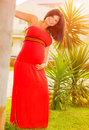 Expectant female having fun outdoors happy fashion for pregnant young woman exotic nature summer joy new life concept Stock Photo