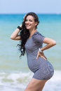 Expectant mother on the beach Royalty Free Stock Photo