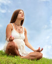 Expectant mother is meditating Stock Photography