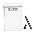 Expectations on note book with black pen Royalty Free Stock Photo