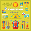 Expedition adventure vector icons set in flat style design summer travel signs collection tourism camp Royalty Free Stock Photo