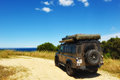 Expedition vehicle land rover defender with equipment Royalty Free Stock Image