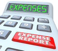Expense report calcualtor adding receipts business costs reports words on a calculator display your and for meals travel and other Royalty Free Stock Photography