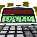 Expenses calculator shows business expenditure showing and bookkeeping Royalty Free Stock Photos