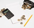 Expenses counting process concept still life Stock Photo