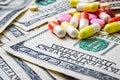 Expensive medicine. Drug addiction. Money and pills.