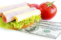 Expensive sandwich costs for food Stock Photo
