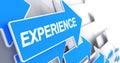 Experience - Text on Blue Arrow. 3D.