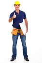 Experienced carpenter giving thumb up isolated white Royalty Free Stock Photos