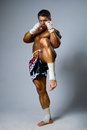 An experienced fighter kickboxer kick full height Royalty Free Stock Photography