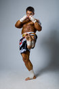 Experienced fighter punches during training kickboxing or muay thai full height Royalty Free Stock Photo