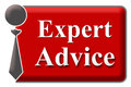 Expert advice red grey block image with a human icon with tie and text Stock Photo