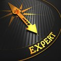 Expert business background golden compass needle on a black field pointing to the word d render Stock Photography