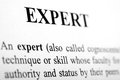 Expert the word shot with artistic selective focus Stock Photos