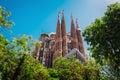 Expiatory Temple of the Holy Family. View of the Sagrada Familia Catholic church. Barcelona. Spain Royalty Free Stock Photo