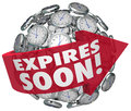 Expires soon clock sphere limited time offer deadline words on a red arrow around a or ball to illustrate a sale or discount event Stock Images