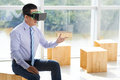 Explaining ideas asian businessman in vr goggles his Stock Photo