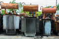 Exploded electric transformers ruins of Royalty Free Stock Photo