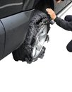 Exploded tire of a truck Royalty Free Stock Photo