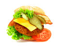 Exploded view of hamburger conceptual isolated on white Stock Image