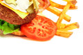 Exploded view of hamburger with french fries isolated on white background Royalty Free Stock Images