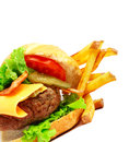 Exploded view of hamburger with french fries isolated on white background Stock Photography