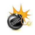 Exploding bomb and boom sign on white Stock Image