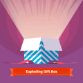 Exploding celebration gift box Royalty Free Stock Photo