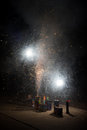 Exploding fireworks in the street Stock Photo