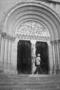Exploration of macon stranger traveller in portal old cathedrale city in bourgogne holidays in france Stock Image