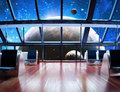 Exploration modern interior view of a celestial planet Stock Photos
