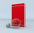 Explore new ideas one red book with a bulb concept of learning and exploring d render Stock Image
