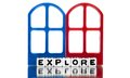 Explore text on red and blue frames message door white background Royalty Free Stock Images