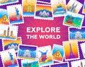 Explore the world - vector line travel illustration