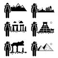 Explorer adventurer traveler backpacker a set of human pictogram representing an on different places such as snow mountain city Stock Photography