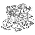 Explorer chest illustration for coloring. Fantasy character chest with adventure items. Treasure comic style doodle. Gold coins,