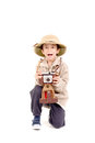 Explorer little boy on safari isolated in white Stock Photos