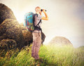 Explorer search observes in of new lands Royalty Free Stock Images