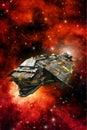 Explorer spaceship and nebula