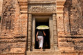 Exploring prasat kravan in cambodia siem reap – march female tourist enters siem reap is a small th century hindu temple Stock Photos