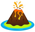 Explosing volcano island exotic vector illustration Royalty Free Stock Image