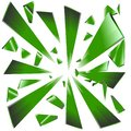 Explosion of broken Green glass prisms Royalty Free Stock Photo