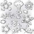 Explosion bubbles vector illustration of different kinds of comic book Royalty Free Stock Photo