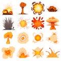 Explosion effect icons set, cartoon style