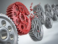 Explosion gear in perpetuum mobile weakest link concept d Stock Image