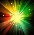 Explosion of red and green raylights Royalty Free Stock Photo