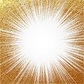 Explosion vector illustration. Sun ray or star burst element with sparkles. Gold Christmas element Golden glow glitter. Light rays
