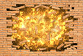 Explosion of a wall the image depicts powerful that destroys brick Stock Photo