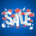 Explosive sale on blue background illustration Royalty Free Stock Photo